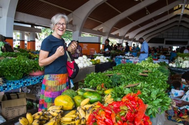 Christine provisioning in Port Vila market