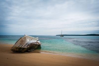 A ship run foul of the reef, Namuka Iki.