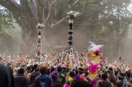 The Toka is a feathered 'totem pole' carried by the dancers