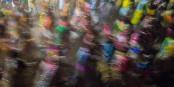 A blur of tinsel-clad dancers