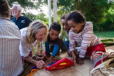 Janie with the Lape Island kids