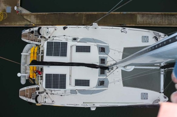 Our 'tennis court' - from the top of the mast