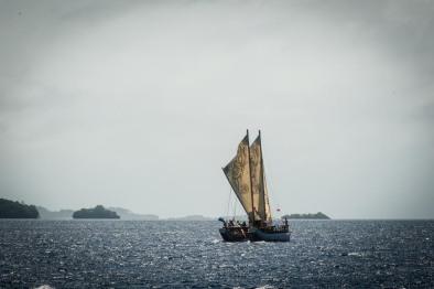 Traditional sailing catamaran