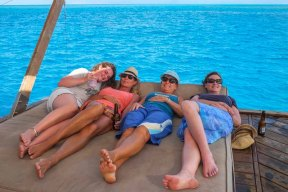 The girls enjoying the sunbeds: Lori, KL, Irene and Sandra