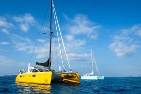 Sel Citron and Kiapa anchored off Cloud 9