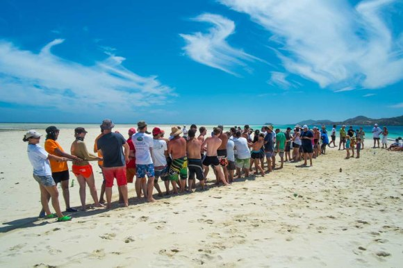 Tug-o-war at the Sandbar party