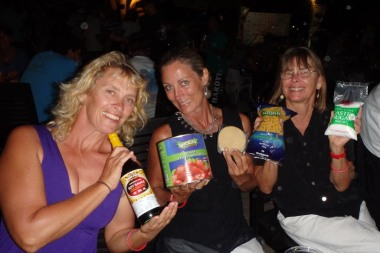 Michelle, KL and Laura with our spoils from the dinghy dress up comp