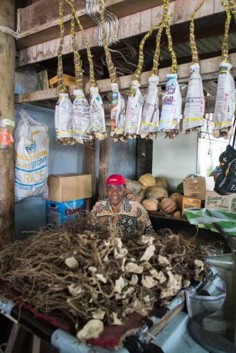 The Kava stall, Savusavu market. You need a bunch (hanging from the rafter) for each sevu sevu.