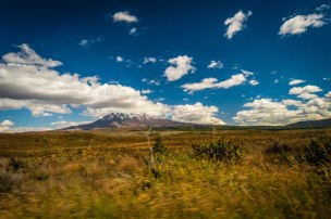 Mt Ruapehu from the car
