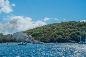 Yacht on fire, BVIs