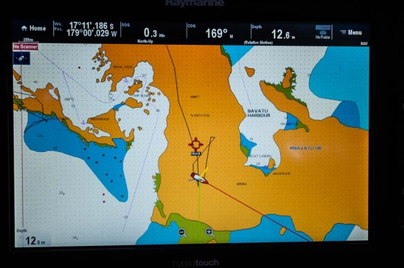 Our anchor position in the Bay of Islands. Yellow is land. White is water. According to the chart plotter, we are parked pretty close to the lookout on the top of the hill...