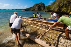 Launching the canoe