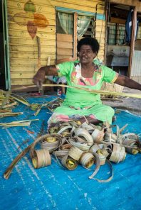 Early stages of pandanus weaving