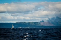 Sailing past Mt Yasur, the active volcano on Tanna